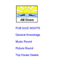 AM Divers Club Night and Pub Quiz